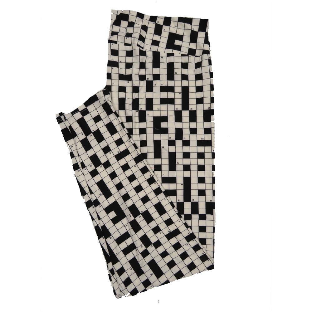 LuLaRoe TC2 Crossword Puzzle Black White Leggings (TC2 fits sizes 18+) 9001-Q