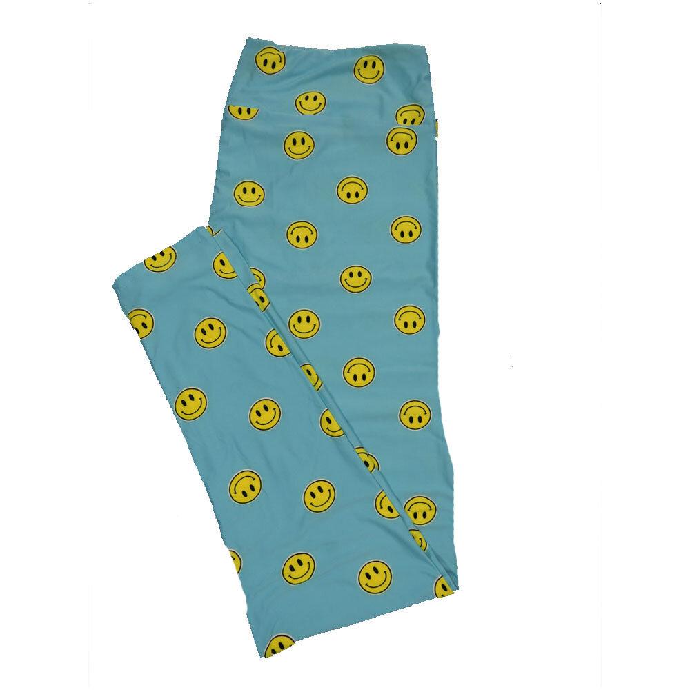 LuLaRoe TC2 Smile Have a Nice Day Yellow Blue Black Leggings (TC2 fits sizes 18+) 9002-M
