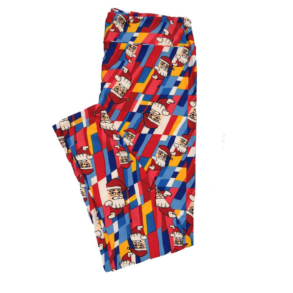 LuLaRoe TC2 Christmas Santa Claus Geometric Rainbow Leggings (TC2 fits sizes 18+) 9004-E