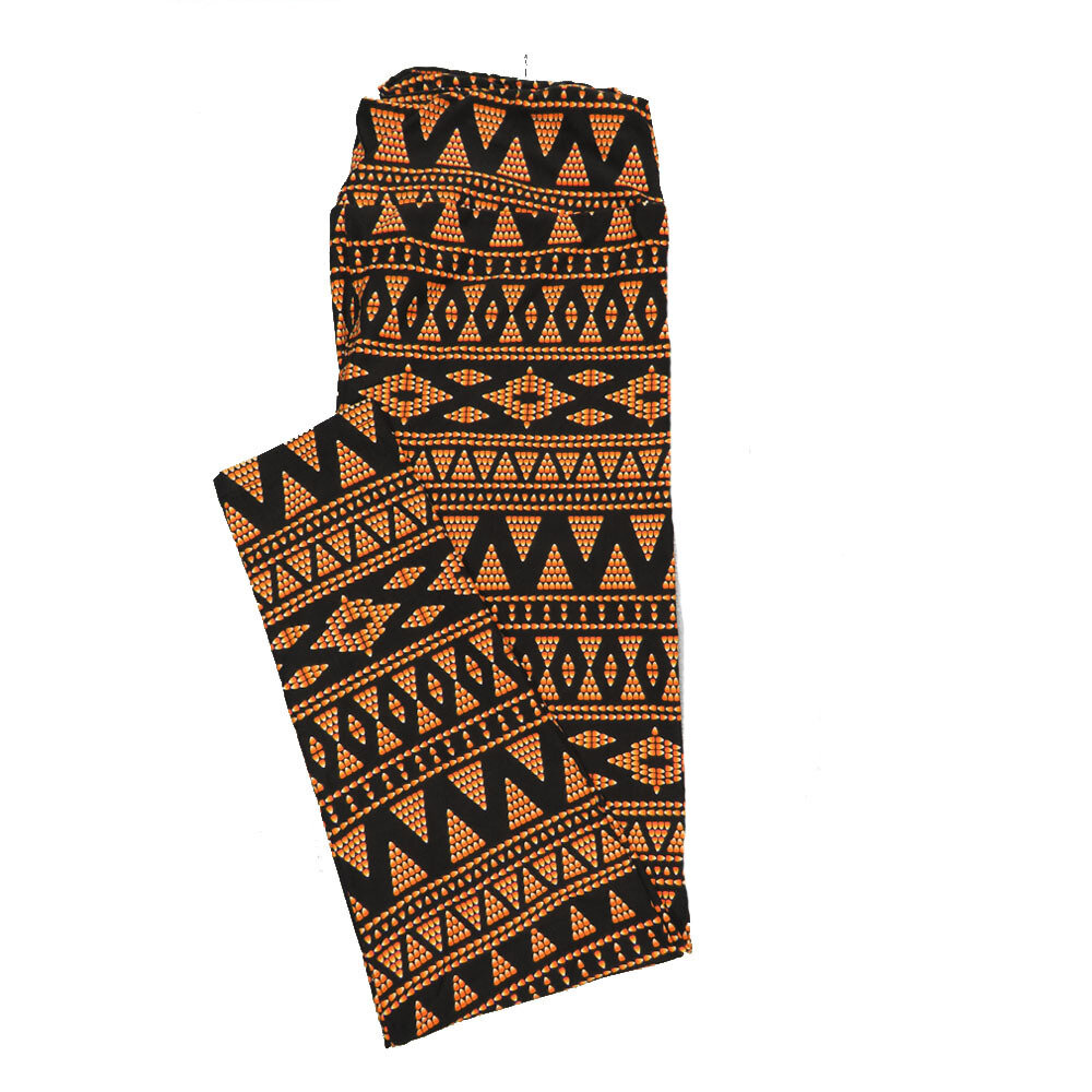 LuLaRoe TC2 Halloween Candycorn Geometric Stripe Black Orange Polka Dot Leggings (TC2 fits sizes 18+) 9004-H