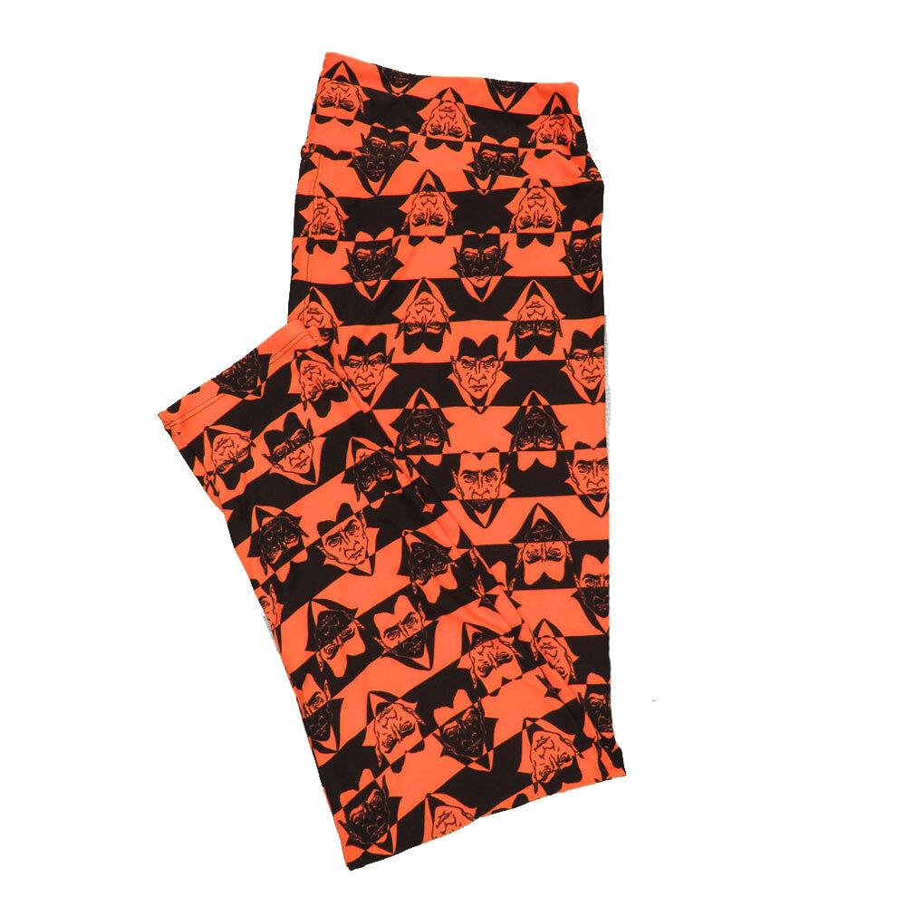 LuLaRoe TC2 Halloween Geometric Dracula Nosfaratu Stripe Leggings (TC2 fits sizes 18+) 9004-N