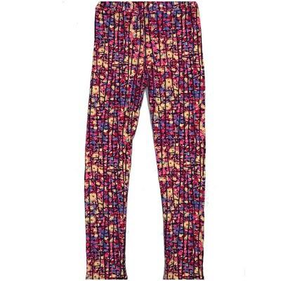 LuLaRoe Kids Large-XL Floral Geometric Black Blue Yellow Stripe Leggings ( L/XL fits kids 8-14) LXL-2003-A