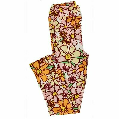 Kids Large-XL (LXL) LuLaRoe Leggings Floral Geometric fits sizes 8-14