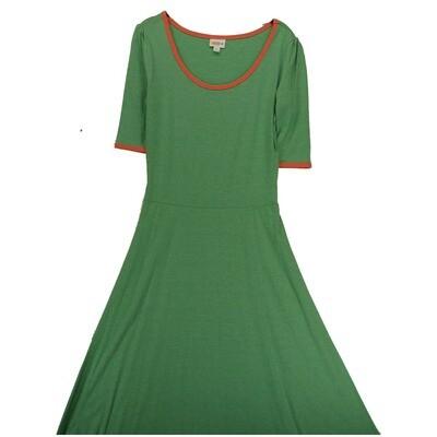 LuLaRoe Ana Medium M Solid Green with Pink Floor Length Maxi Dress fits sizes 8-10
