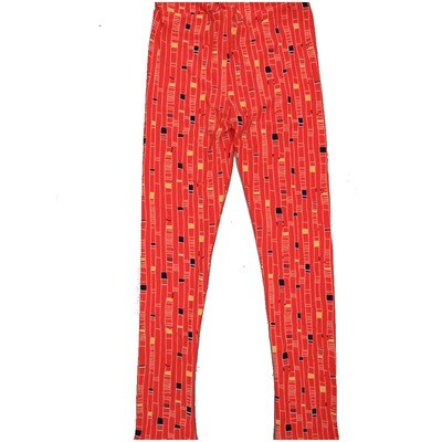 LuLaRoe Kids Large-XL Geometric Orange Black Yellow Stripe Leggings ( L/XL fits kids 8-14) LXL-2001-K2