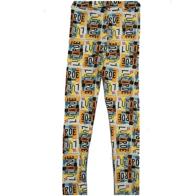 LuLaRoe Kids Large-XL License Plates Black Yellow White Teal Leggings ( L/XL fits kids 8-14) LXL-2000-A
