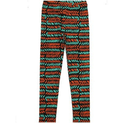 LuLaRoe Kids Large-XL Herringbone Zig Zag Black Green Bone Stripe Leggings ( L/XL fits kids 8-14) LXL-2004-G