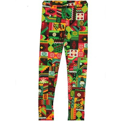 LuLaRoe Kids Large-XL Christmas Presents Snowflakes Skiers Geometric Patchwork Green Red White Leggings ( L/XL fits kids 8-14) LXL-2000-U