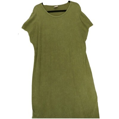 LuLaRoe Maria XX-Large 2XL Acid Wash Solid Army Green Maxi Dress fits sizes 22-24