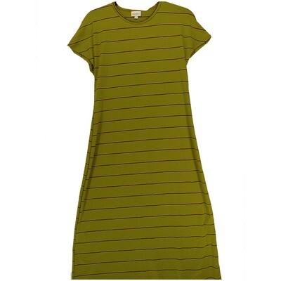 LuLaRoe Maria Large X-Small XS Olive Mustard Blue Stripe Maxi Dress fits sizes 2-4