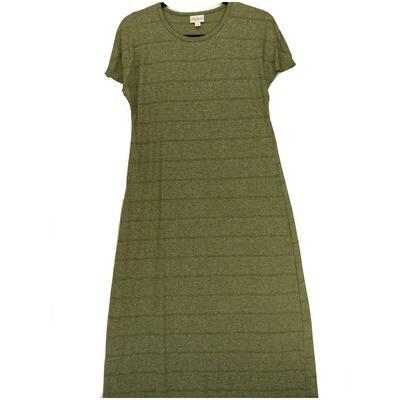 LuLaRoe Maria Large X-Small XS Brown Dark Green Stripe Maxi Dress fits sizes 2-4