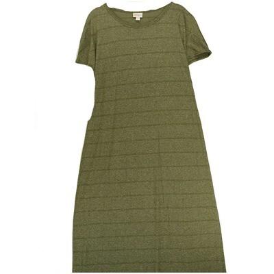 LuLaRoe Maria Small S Light Brown Green Stripe Maxi Dress fits sizes 6-8