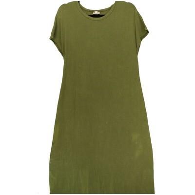 LuLaRoe Maria Small S Solid Acid Wash Army Green Maxi Dress fits sizes 6-8