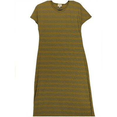 LuLaRoe Maria Small S Mustard Blue Dark Gray Stripe Maxi Dress fits sizes 6-8