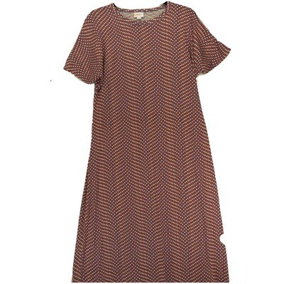 LuLaRoe Maria Small S USA Americana Polka Dot Red White Blue Wavy Zig Zag Stripe Maxi Dress fits sizes 6-8