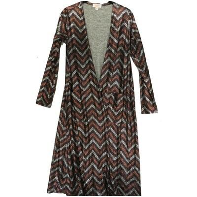 LuLaRoe SARAH Small S Elegant Collection Geometric Black Rose Gold Silver Zig Zag Stripe Cardigan fits Womens sizes 6-8