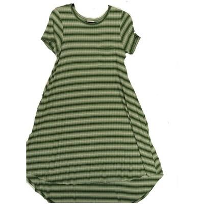 LuLaRoe CARLY X-Small XS Yellow White Stripe Swing Dress fits Women 2-4