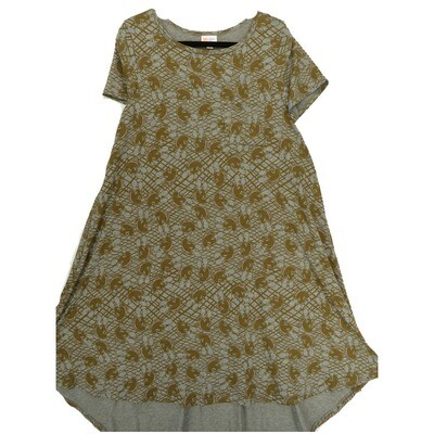 LuLaRoe CARLY Small S Disney Mickey Mouse Gray Brown Swing Dress fits Women 6-8