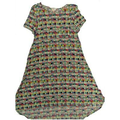 LuLaRoe CARLY X-Small XS Multicolor Geometric Swing Dress fits Women 2-4