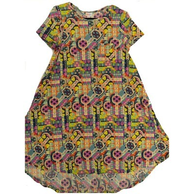 LuLaRoe CARLY X-Small XS Multicolor Geometric Polka Dot Swing Dress fits Women 2-4