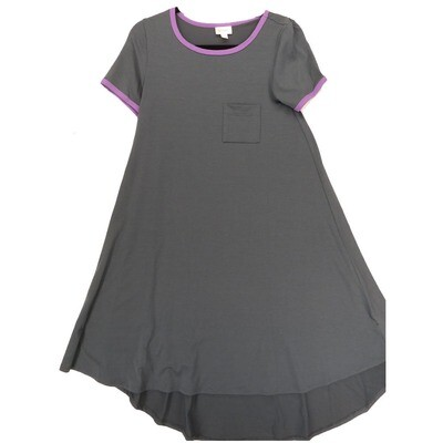 LuLaRoe CARLY XX-Small XXS Solid Slate Blue with Purple Trim Swing Dress fits Women 00-0