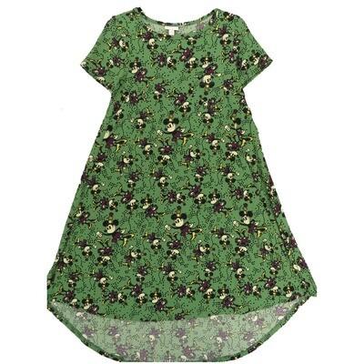 LuLaRoe CARLY XX-Small XXS Disney Minnie Mouse Green Purple Cream Swing Dress fits Women 00-0