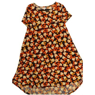 LuLaRoe CARLY Small S Disney Winking Mickey Mouse Dark Purple Orange Swing Dress fits Women 6-8
