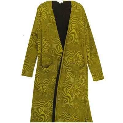 LuLaRoe SARAH Large L Embosses Heavy Fabric Mustard Geometric Zebra Stripe Cardigan fits Womens sizes 14-16