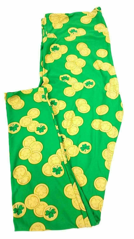 LuLaRoe Tall Curvy TC Gold Shamrock Coins Lucky Irish St Patricks Notre Dame Green Leggings fits 12-18