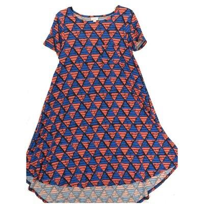 LuLaRoe CARLY X-Small XS Geometric Blue Black Pink Swing Dress fits Women 2-4