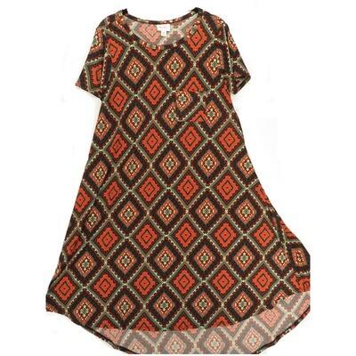 LuLaRoe CARLY X-Small XS Geometric Black Cream Teal Swing Dress fits Women 2-4