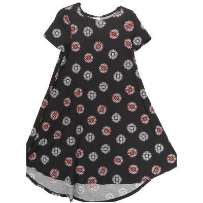 LuLaRoe CARLY XX-Small XXS Geometric Black White Red Swing Dress fits Women 00-0