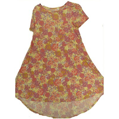 LuLaRoe CARLY XX-Small XXS Floral Yellow Pink Lavender Swing Dress fits Women 00-0