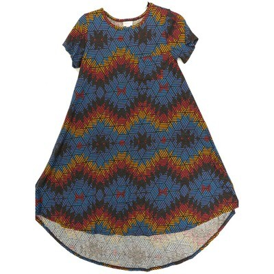 LuLaRoe CARLY XX-Small XXS Geometric Black Red Blue Swing Dress fits Women 00-0