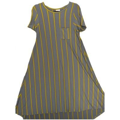 LuLaRoe CARLY X-Small XS Blue Gray with Gold Stripes Swing Dress fits Women 2-4