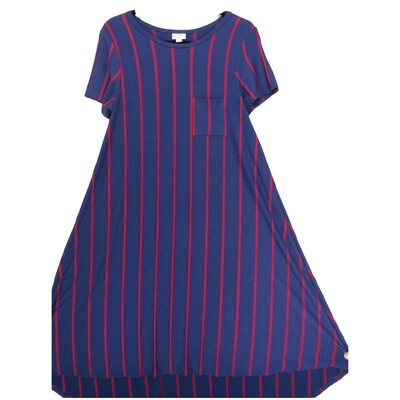 LuLaRoe CARLY X-Small XS Navy Wine Polka Dot Stripe Swing Dress fits Women 2-4