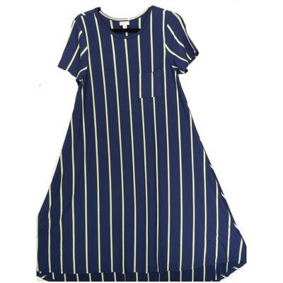 LuLaRoe CARLY X-Small XS Navy Gray Polka Dot Stripe Swing Dress fits Women 2-4