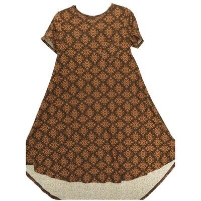LuLaRoe CARLY X-Small XS Geometric Maroon Mauve Leggings Material Swing Dress fits Women 2-4