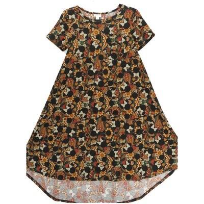 LuLaRoe CARLY XX-Small XXS Disney Minnie Mouse Paisley Black Red Swing Dress fits Women 00-0
