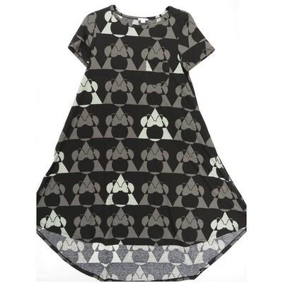 LuLaRoe CARLY XX-Small XXS Disney Minnie Mouse Geometric Red Gray Swing Dress fits Women 00-0