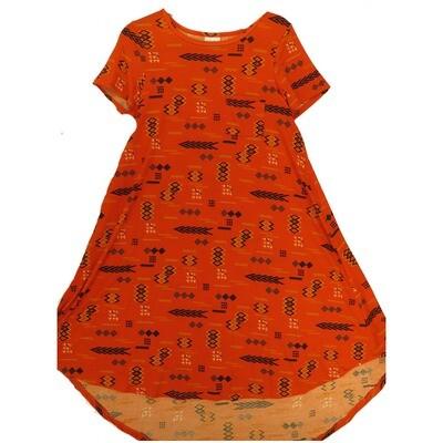 LuLaRoe CARLY X-Small XS Black Red Orange Aztek Southwestern Geometric Swing Dress fits Women 2-4
