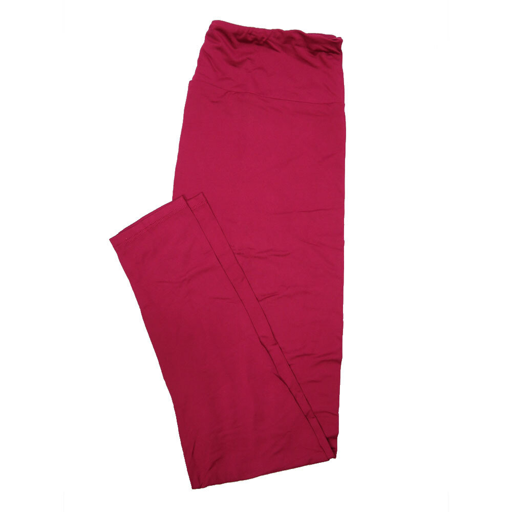 LuLaRoe One Size OS Solid Red Plum (192025) Womens Leggings fits Adult sizes 2-10