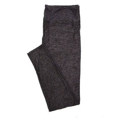 LuLaRoe One Solid OS Solid Heathered Black with Purple (410-49795) Womens Leggings fits Adult sizes 2-10