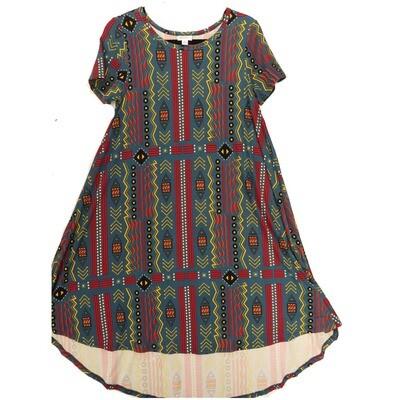 LuLaRoe CARLY X-Small XS Leggings Material Geometric Turquoise Yellow Black Swing Dress fits Women 2-4