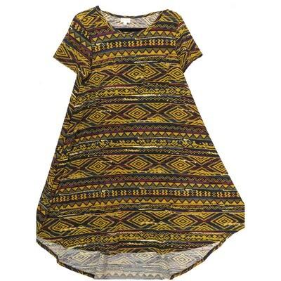 LuLaRoe CARLY X-Small XS Aztek Southwestern Geometric Black Red Gold Maroon Swing Dress fits Women 2-4