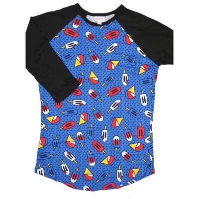 LuLaRoe RANDY Small Americana Blue Red White Yellow Bomb Pops Icecicles with Black Raglan Sleeve Unisex Baseball Tee Shirt - S fits 6-8