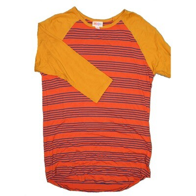 LuLaRoe RANDY Medium Dark Orange Blue Stripe with Mustard Raglan Sleeve Unisex Baseball Tee Shirt - M fits 10-12