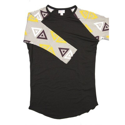LuLaRoe RANDY X-Small Black with Light Gray Yellow White Geometric Raglan Sleeve Unisex Baseball Tee Shirt - XS fits 2-4