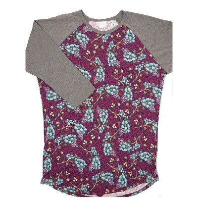 LuLaRoe RANDY Medium Grapes Maroon Purple Slate Floral with Gray Raglan Sleeve Unisex Baseball Tee Shirt - M fits 10-12