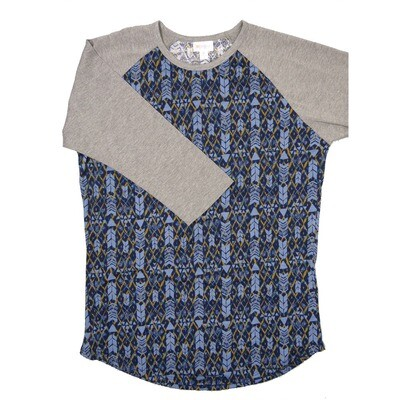 LuLaRoe RANDY Medium Navy Blue Olive Geometric with Gray Raglan Sleeve Unisex Baseball Tee Shirt - M fits 10-12